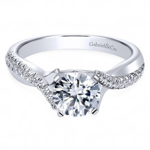 Gabriel & Co. 14k White Gold Round Twisted Engagement Ring - ER10951W44JJ