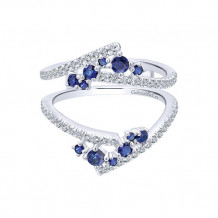 Gabriel & Co 14k White Gold Diamond & Sapphire Jacket Anniversary Band - AN12799M-W44SA