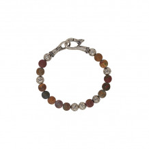 John Varvatos Mercer Silver distressed ball and picasso jasper bead bracelet - JVBSL0004-PJ