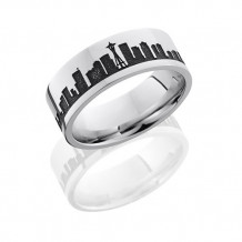 Lashbrook Camo Cobalt Chrome Flat Wedding Band - CC8F_LCVSEATTLESKYLINE_POLISH
