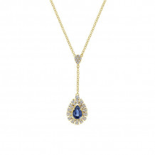 Gabriel 14K Yellow Gold Lusso Color Blue Sapphire Necklace NK5296Y45SA
