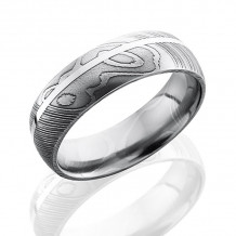Lashbrook Damascus Steel Camo Domed Wedding Band - D7D11OC_SS_POLISH