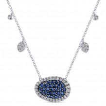 Gabriel 14K White Gold Lusso Color Blue Sapphire Necklace NK4946W45SB