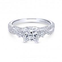 Gabriel & Co. 14k White Gold Contemporary Diamond Halo Engagement Ring - ER12663S3W44JJ