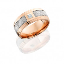 Lashbrook 14k Rose Gold Diamond and Meteorite Inlay Wedding Band - 14KR9F2S14_5SEG_METDIAPR10B