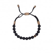 John Varvatos Mercer Brass skull and onyx bead bracelet - JVBBS0073-OX