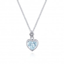 Gabriel & Co. 14K White Gold Eternal Love Blue Topaz Necklace NK2309W45LB