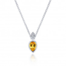 Gabriel 14K White Gold Gem Drops Citrine Necklace NK5751W45CT