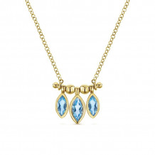Gabriel 14K Yellow Gold Trends Blue Topaz Necklace NK5472Y4JBT