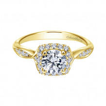 Gabriel & Co 14k Yellow Gold Halo Diamond Engagement Ring - ER11713R3Y44JJ
