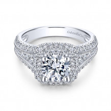 Gabriel & Co. 14k White Gold Round Double Halo Engagement Ring - ER11760R4W44JJ