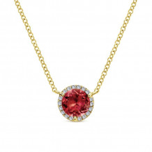 Gabriel 14K Yellow Gold Lusso Color Garnet Necklace NK4616Y45GN