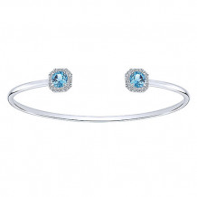 14k White Gold Gabriel & Co. Diamond Swiss Blue Topaz Bangle Bracelet