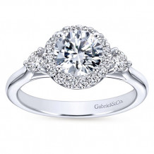 Gabriel & Co 14k White Gold Round 3 Stones halo Engagement Ring - ER7482W44JJ