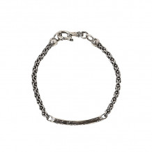 John Varvatos Artisan Metals Silver distressed ID bracelet on chain - JVSS-B-AA-101-NS-M