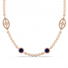 Gabriel & Co. 14K Rose Gold Endless Diamonds Blue Sapphire Necklace NK1038-18K45SA