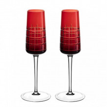 Christofle Giftware Crystal Graphik Flutes Red Set - 7946110