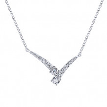 Gabriel & Co. 14k White Gold V Shaped Diamond Necklace - NK5600W45JJ