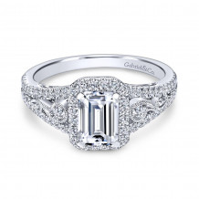 Gabriel & Co. 18k White Gold Contemporary Diamond Halo Engagement Ring - ER7740W84JJ