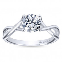 Gabriel & Co 14k White Gold Round Twisted Engagement Ring - ER7517W4JJJ