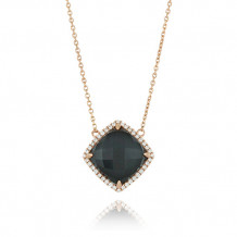 18K Rose Gold Doves Diamond & Hematite Necklace