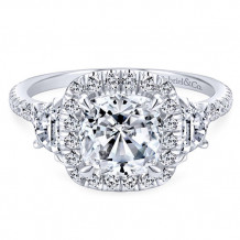 Gabriel & Co. 14k White Gold Cushion Cut 3 Stones halo Engagement Ring - ER9189W44JJ