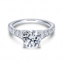 Gabriel & Co. 14k White Gold Round Straight Engagement Ring - ER12299R6W44JJ