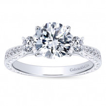 Gabriel & Co 14k White Gold Round 3 Stones Engagement Ring - ER7290W44JJ