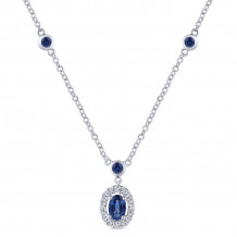 Gabriel & Co. 14K White Gold Lusso Color Blue Sapphire Necklace NK1107W45SA