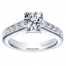 Gabriel & Co 14k White Gold Round Straight Engagement Ring - ER3962W44JJ