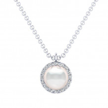 Gabriel 14K White Gold Grace Pearl Necklace NK5619W45PL