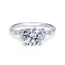 Gabriel & Co. 14k White Gold Round Straight Engagement Ring - ER11747R4W44JJ