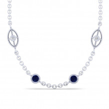 Gabriel & Co. 14K White Gold Endless Diamonds Blue Sapphire Necklace NK1038-32W45SA