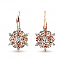 14k Rose Gold Gabriel & Co. Diamond Drop Earrings