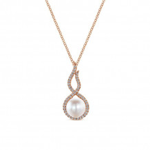 Gabriel 14K Rose Gold Grace Pearl Necklace NK4868K45PL