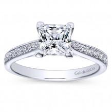 Gabriel & Co 14k White Gold Princess Cut Straight Engagement Ring - ER8916W44JJ