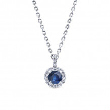 Gabriel & Co. 14K White Gold Lusso Color Blue Sapphire Necklace NK1122W44SA
