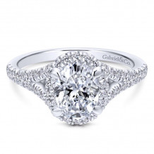 Gabriel & Co. 14k White Gold Entwined Diamond Halo Engagement Ring - ER12769O4W44JJ