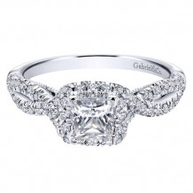 Gabriel & Co. 14k White Gold Princess Cut Halo Engagement Ring - ER11081S2W44JJ