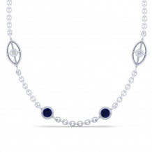 Gabriel & Co. 14K White Gold Endless Diamonds Blue Sapphire Necklace NK1038-18W45SA