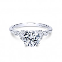 Gabriel & Co. 14k White Gold Round Straight Engagement Ring - ER11721R4W44JJ