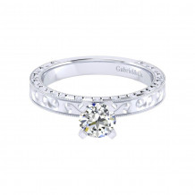 Gabriel & Co. 14k White Gold Victorian Straight Engagement Ring - ER9022W4JJJ