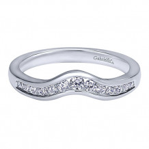 Gabriel & Co 14k White Gold Round Curved Anniversary Band - AN10973W44JJ