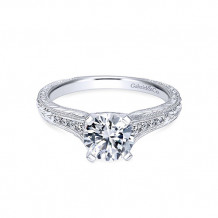 Gabriel & Co. 14k White Gold Round Straight Engagement Ring - ER10276W44JJ