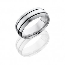 Lashbrook Titanium Sterling Silver Domed Antique Edge Men's Wedding Band - 8D12A-SS SATIN