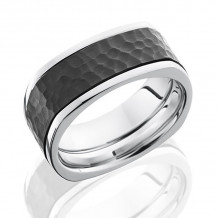 Lashbrook Cobalt Chrome & Zirconium Flat Wedding Band - CCPF9FSQ16_ZIRCONIUM_HAMMER_POLISH