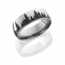 Lashbrook Camo Cobalt Chrome Domed Wedding Band - CC8D_LCVTREES_BLACK_POLISH