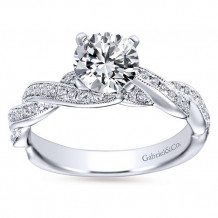 Gabriel & Co 14k White Gold Round Twisted Engagement Ring - ER6138W44JJ