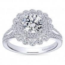Gabriel & Co 14k White Gold Round Double Halo Engagement Ring - ER7542W44JJ