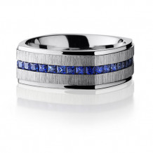 Lashbrook 14k White Gold Camo Eternity Wedding Band - CC8FGESQETERNITYSAPPHIRE_CROSSSATIN_POLISH